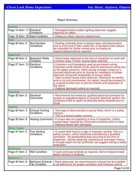 house inspection report template tm sheet