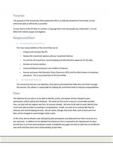 investment committee minutes template investment policy statement images