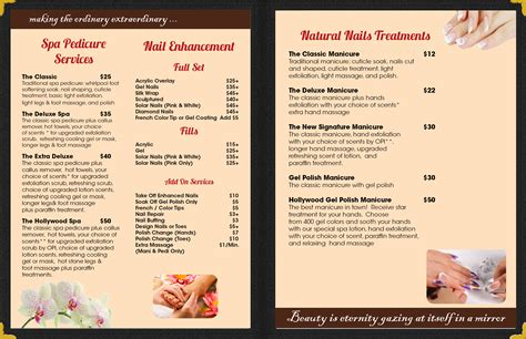 Nail Salon Signs Manicure Pedicure Spa Salon Signs Upcomingcarshq Com Pedicure Menu Template