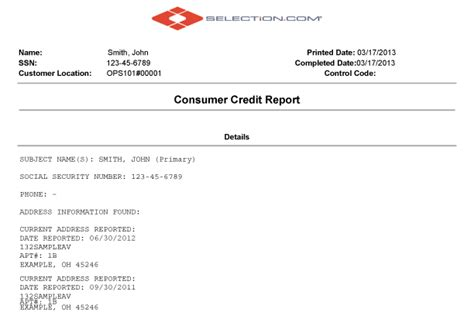 Eviction Background Check Consumer Credit Report Selection