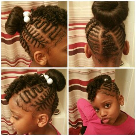 donut bun hairstyle with bangs little girls freestyle braids with curly bang and donut