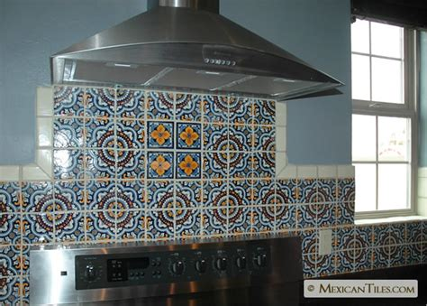 Mexican Tile Backsplash Kitchen Mexicantiles Kitchen Backsplash With Royal And Flor Sevillana Mexican Talavera Tile