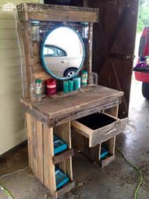 Vanities For Makeup With Lights Makeup Vanity Made From Reclaimed Wooden Pallets Pallet