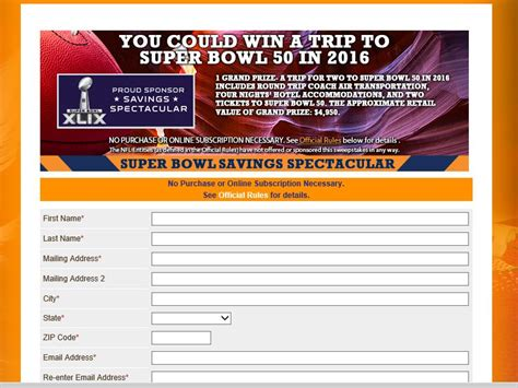 Www Smartsource Com Sweepstakes - smartsource savings spectacular super bowl 50 sweepstakes sweepstakes fanatics