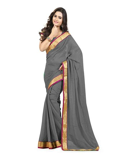 Welly Blouse velly gray faux georgette saree buy velly gray faux