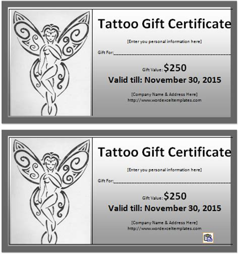 tattoo gift certificate certificate templates free sle templates