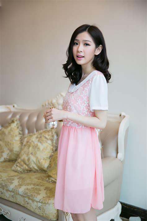 Baju Dress Cantik Brukat Bunga Putihnavy Limited mini dress korea sifon bunga model terbaru jual murah