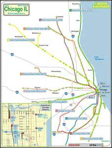 Map Of Chicago Metra by Chicago Map Metra Train