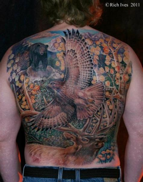 steel city tattoo realistic back eagle deer by steel city