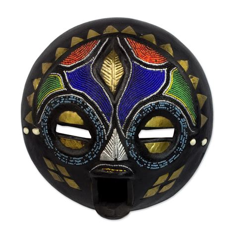 Aztec Home Decor by Bride Zambia Authentic Bemba African Mask Wood Amp Beads Ebay