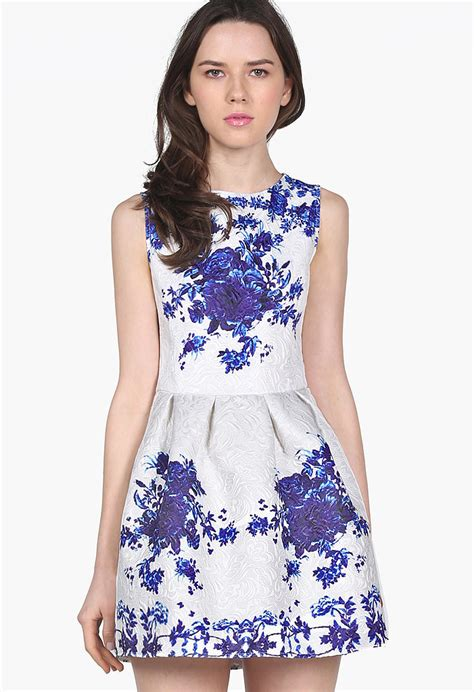 Porceline Dress sheinside porcelain print dress erdem modal blend