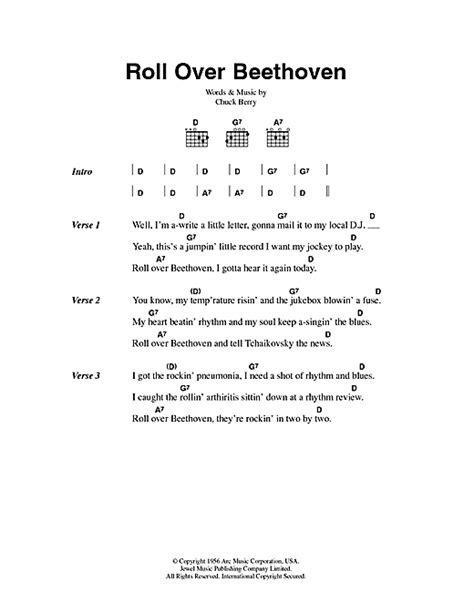 lyrics chuck roll beethoven sheet by chuck berry lyrics