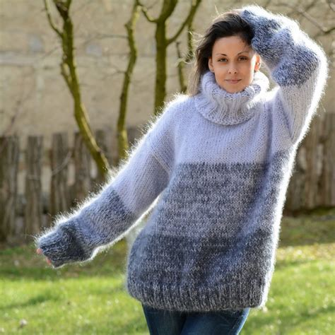 Handmade Knitted Sweaters - grey stripes color knit mohair sweater by extravagantza