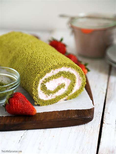 Roll Cake matcha green tea swiss roll cake with strawberry mousse