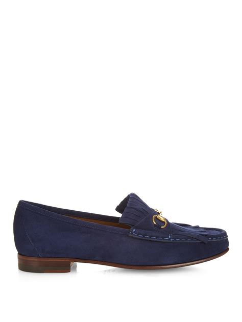 gucci blue suede loafers lyst gucci horsebit suede loafers in blue