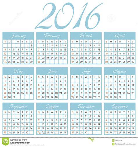 Calendrier Janvier 2016 Avec Numéro De Semaine Conception Du Calendrier 2016 Illustration De Vecteur