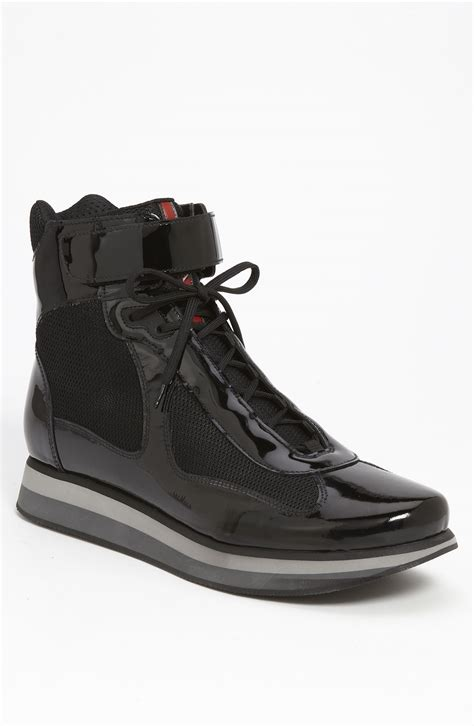 prada americas cup sneaker prada americas cup high top sneaker in black for