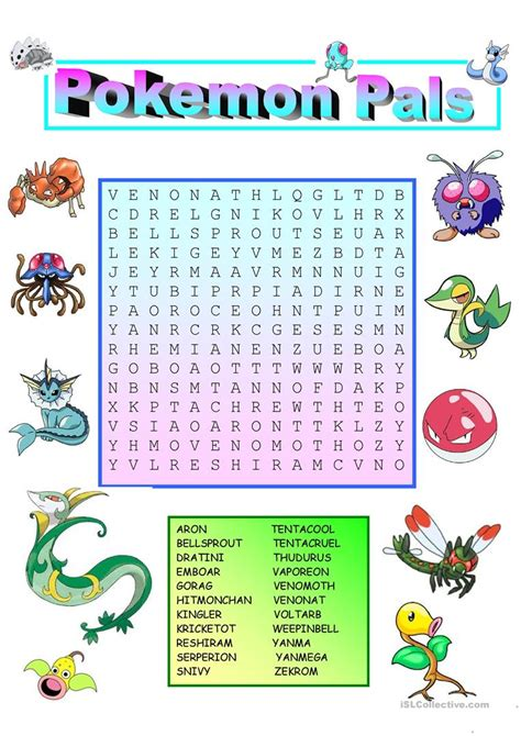 printable pokemon activity sheets pokemon wordsearch with key worksheet free esl printable