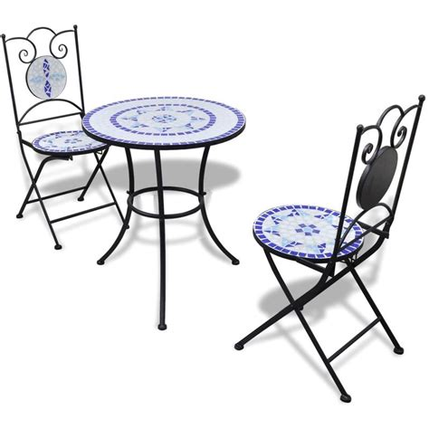 blue white table l vidaxl bistro table 60 cm mosaic with 2 chairs blue white