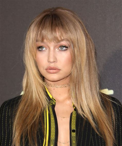 blunt shag gigi hadid long straight formal shag hairstyle with blunt