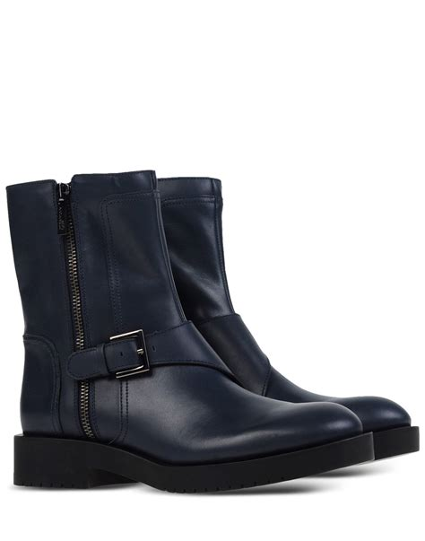 navy boots jil sander navy buckled leather ankle boots in blue