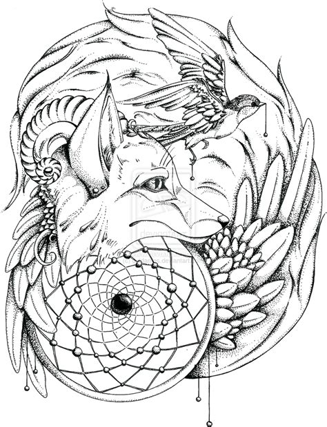 indian coloring pages for adults totem fox by quidames on deviantart