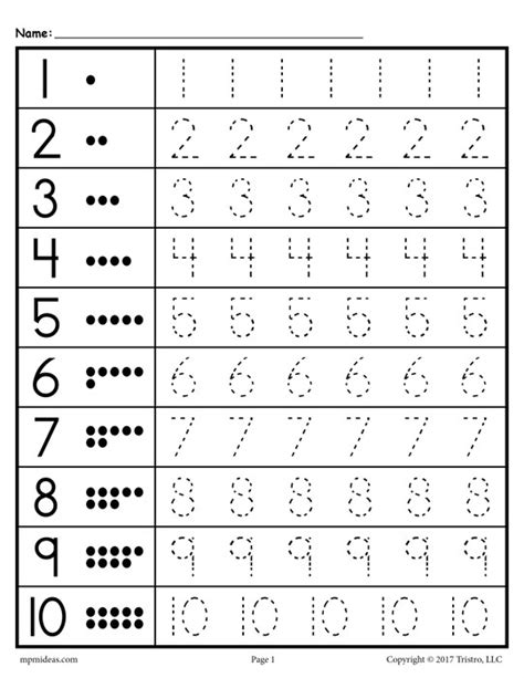 Tracing Numbers 1 10 Worksheets Kindergarten by Tracing Numbers 1 10 Worksheets Kindergarten Printable