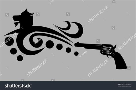 tribal gun tattoo tribal gun vector stock vector 125474855