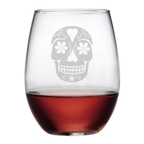 Stemless Wine Glasses Day Of The Dead Etched Stemless Wine Glass Set