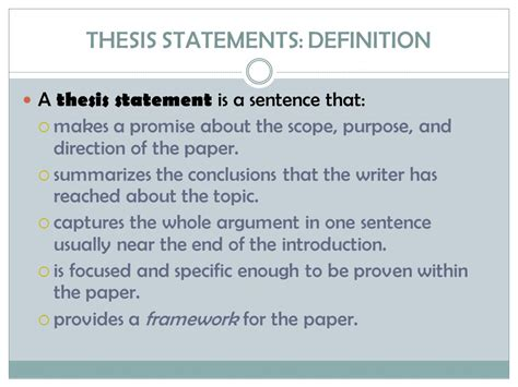 the definition of a thesis statement thesis statement definition www pixshark images