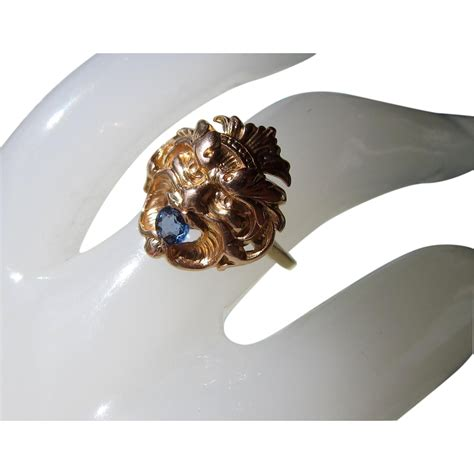 Chagne Topaz 5 16ct deco blue topaz 14k ring from opheliagrace