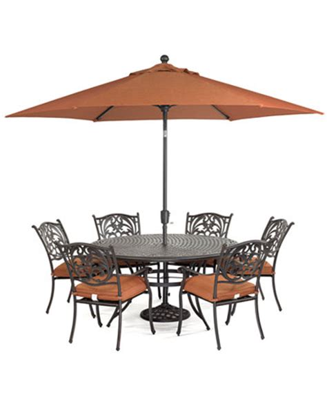 Patio Furniture Macys Chateau Outdoor Cast Aluminum 7 Pc Dining Set 60 Quot Dining Table And 6 Dining Chairs