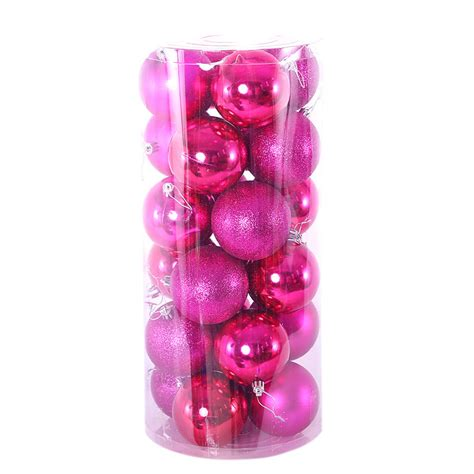 cheap 6cm pink christmas tree ornaments balls set for sale