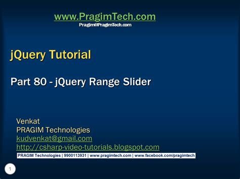 Jquery Tutorial Video | sql server net and c video tutorial jquery range slider