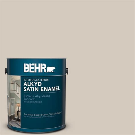 behr 1 gal bnc 02 understated satin enamel alkyd interior exterior paint 790001 the home depot