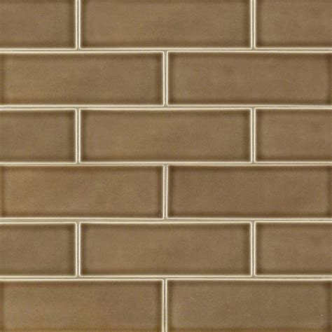 Handcrafted Tile - 4 in x 12 in artisan taupe glazed handcrafted tile