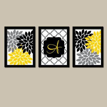 yellow printable wall art yellow black wall art monogram print from trm design