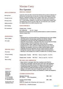 Bus operator resume, job description, example, template