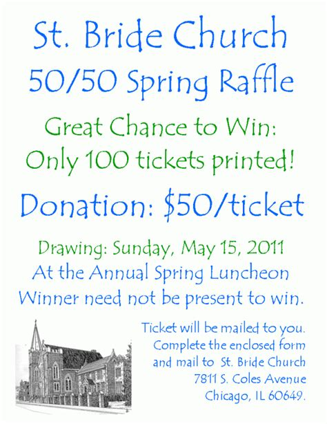 Church Of Saint Bride Annual Spring Luncheon 50 50 Raffle And Silent Auction 50 50 Raffle Flyer Template