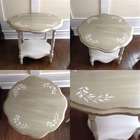 shabby chic coffee table chalk painted two tone linen and