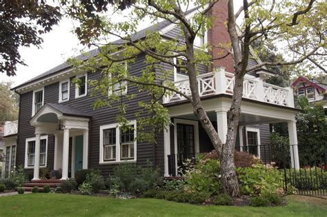 gray dutch colonial revival house north historic exterior painting of gray colonial style home in historic