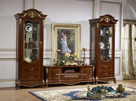 Lemari Hias Jati Dan Bufet Tv Jati Klasik Duco Mewah Kjf Jepara set lemari hias dan bufet tv mewah klasik minimalis jepara bt 025 set bufet tv klasik mebel