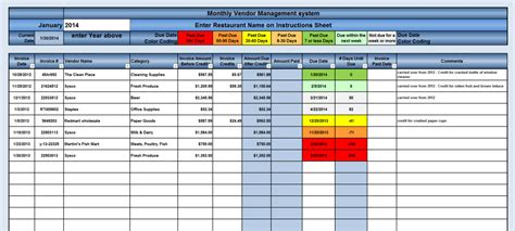 vendor management excel template new cumberland pennsylvania restaurant consultants