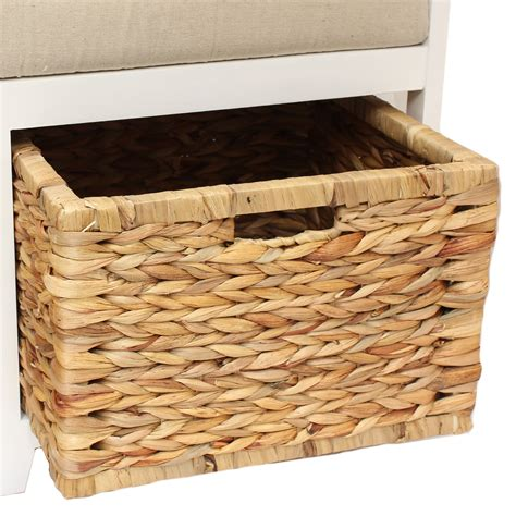 wicker storage bench with cushion home hallway bathroom bench seat with seagrass wicker