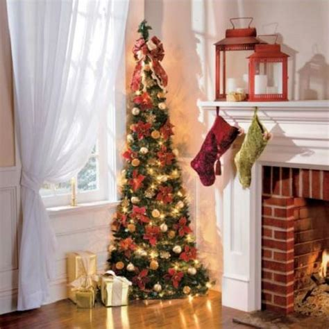 pre decorated pull up tree 6 lighted pre lit decorated corner pull up artificial tree gold ebay