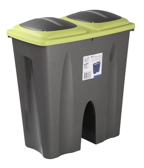 2 section bin double recycling waste bin duo rubbish plastic cardboard