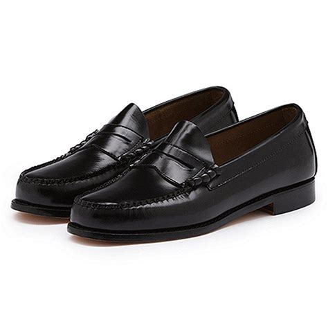 black loafers shoes bass weejuns classic league mod 60 s leather