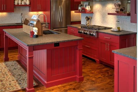 paint and barn board cabinetry in a beautifully modern shaker cabinetry with red paint and glaze finish