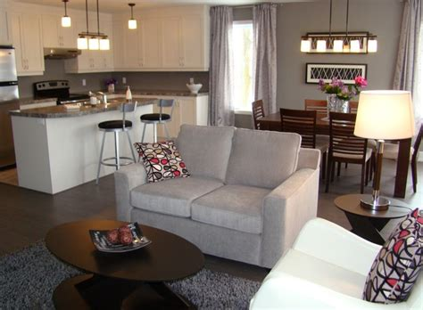 the living room salon open concept living dining kitchen aire ouverte salon salle a manger cuisine contemporary
