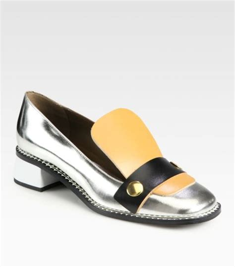 silver loafers metallic marni metallic leather loafers in silver lyst